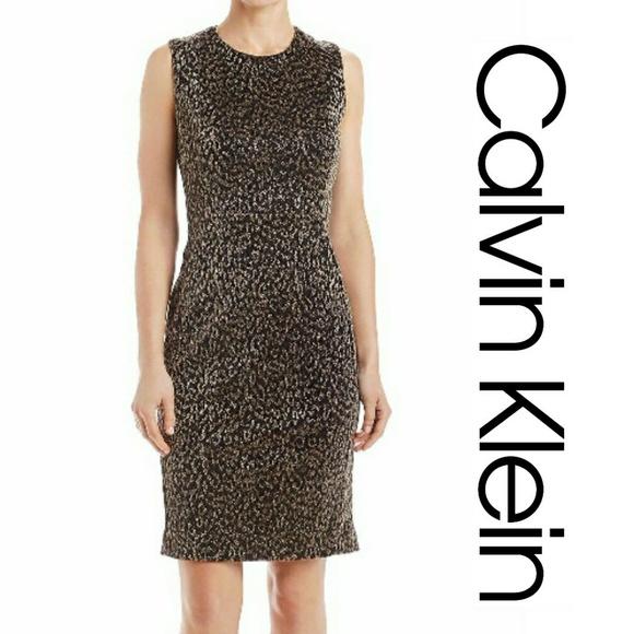 NWT Calvin Klein Gold Leopard Print Sheath Dress 275e88506